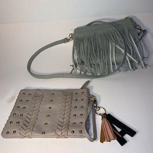 Handbags - SetOf2 - Gray Fringe Purse & Tan Woven Clutch Bag